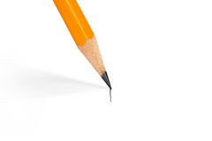 Pencil draws a straight line. On a white background royalty free stock photos