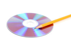 Pencil and DVD Royalty Free Stock Images