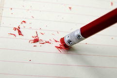 Pencil edit. Closeup of a pencil eraser correcting a mistake Royalty Free Stock Photography