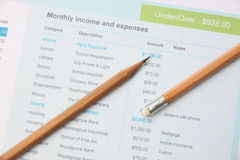 Pencil on education document. Stock Photography