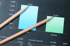 Pencil on education graph document. Stock Image