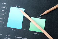 Pencil on education graph document. Stock Images