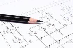 Pencil on electrical diagrams Stock Photo