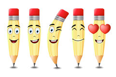 Pencil Emoticons with Five Different Facial Expressions Isolated Stock Image
