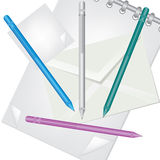 Pencil envelope and notebook illustration Royalty Free Stock Image