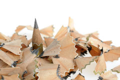 Pencil in an environment shavings. A photo close up royalty free stock image