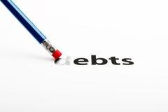 PENCIL-ERASER和债务 免版税库存图片