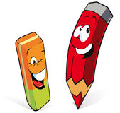 Pencil with eraser. Funny pencil and eraser cartoon isolated on white background Stock Photo