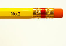 Pencil eraser. Eraser end of a yellow pencil stock photo
