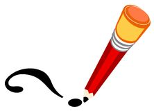 Pencil with eraser. Line illustration for the pencil writing Royalty Free Illustration
