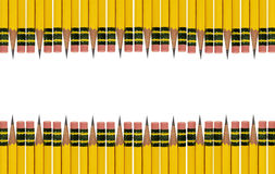 Pencil Eraser Border. A double border of standard #2 pencils alternating eraser and sharpened ends on white background. Concept for school supplies, back to Stock Photography
