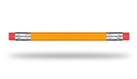 Pencil with eraser on both sides on white background Stock Photos