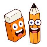 Pencil And Eraser Cartoon Character Stock Photos