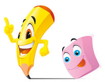 Pencil and eraser cartoon characters Stock Images