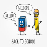 Pencil and eraser cartoon vector characters Stock Images