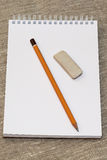 Pencil eraser and clean the notebook. A simple pencil eraser and clean the notebook Stock Photography