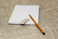 Pencil eraser and clean the notebook Royalty Free Stock Photography
