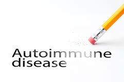 Pencil with eraser. Closeup of pencil eraser and black autoimmune disease text. Autoimmune disease. Pencil with eraser Stock Photo
