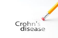 Pencil with eraser. Closeup of pencil eraser and black crohn`s disease text. Crohn`s disease. Pencil with eraser Stock Photo