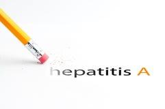 Pencil with eraser. Closeup of pencil eraser and black hepatitis a text. Hepatitis a. Pencil with eraser Royalty Free Stock Image