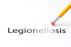 Pencil with eraser. Closeup of pencil eraser and black legionellosis text. Legionellosis. Pencil with eraser Royalty Free Stock Photos