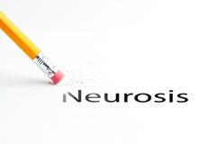Pencil with eraser. Closeup of pencil eraser and black neurosis text. Neurosis. Pencil with eraser Royalty Free Stock Photos