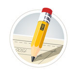 Pencil with eraser for drawing. Eps10  illustration.  on white background Royalty Free Stock Images