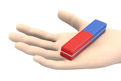 Pencil eraser in hand Royalty Free Stock Images