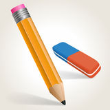 Pencil. And eraser isolaed on white, vector illustration Stock Photography