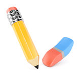 Pencil and eraser. Isolated on white background. 3d rendering image Stock Photography