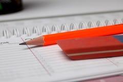 Pencil and eraser Royalty Free Stock Photos