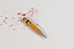 Pencil and eraser leftovers Stock Images