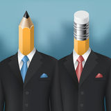Pencil and eraser men Royalty Free Stock Images