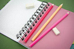 Pencil, eraser, notebook Royalty Free Stock Photo