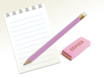 Pencil_eraser_notepad 库存图片