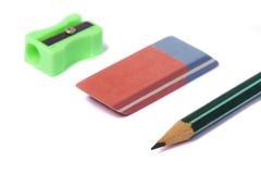 Pencil, eraser and pencil sharpener Stock Photo
