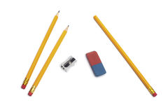 Pencil, eraser rubber, sharpener Stock Image