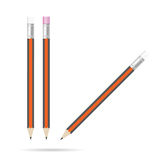 Pencil with eraser set color illustration on white Royalty Free Stock Images