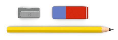 Pencil, eraser and sharpener. One pencil with an eraser and a sharpener (3d render Royalty Free Stock Photos
