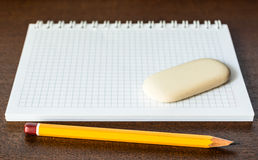 Pencil and eraser on the table Royalty Free Stock Image