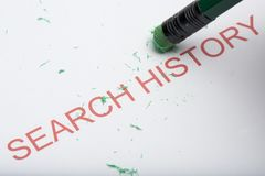 Pencil Erasing the Word `Search History` on Paper. Pencil eraser trying to remove the word `search history` on paper. Concept of removing, deleting or untracing Stock Photos