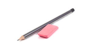 Pencil and eraser on a white background Stock Photography