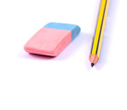 Pencil and Eraser. On a white background Royalty Free Stock Image
