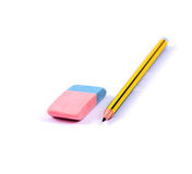 Pencil and Eraser. On a white background Royalty Free Stock Images