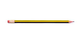 Pencil with eraser. On a white background Royalty Free Stock Photo