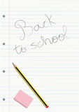 Pencil and eraser on a written notebook lined sheet royalty free illustration