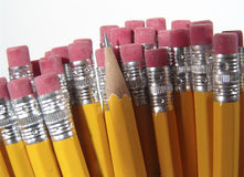 Pencil Erasers. Photo of Pencil Erasers and 1 Pencil Point - Part of Series royalty free stock photo