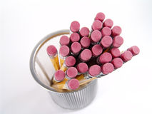 Pencil Erasers. Photo of pencil erasers from above - Part of Series stock photos