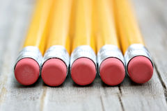 Pencil Erasers. Row of pencils with erasers Stock Image