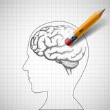 Pencil erases the human brain. Alzheimer disease. Stock  i Royalty Free Stock Photo
